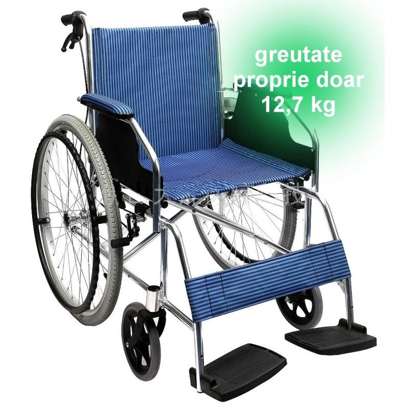 Scaun cu rotile ieftin, din aluminiu